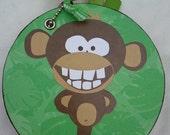Monkey Round Chipboard Coaster Mini Album Brag Book