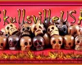 12 Nyatoh Wood Skull Beads
