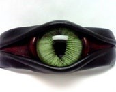 Green Cat's Eye- Leather Cuff Bracelet