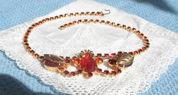 Vintage 1950's Unique Red & Orange Rhinestone Choker Necklace Jewelry
