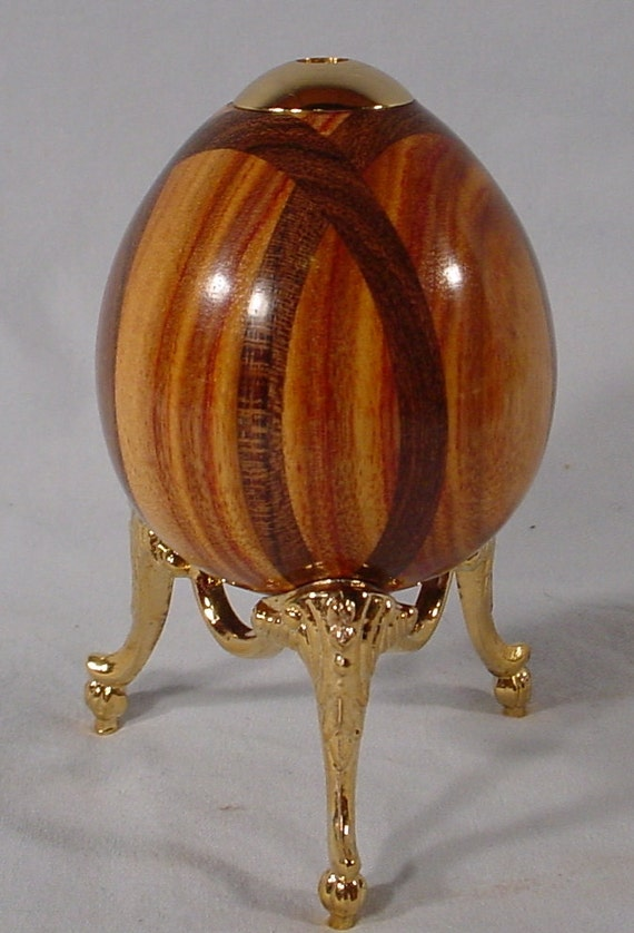 Exotic Bocote inlay and Canarywood 24k Kaleidoscope Egg with brass stand. by Bryan Tyler Nelson