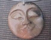 Ceramic Pendant - Man in the Moon - Smoke Fired
