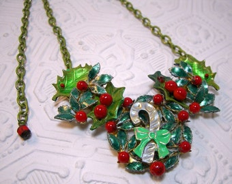 Christmas Holly  Berry Leaf  Wreath Holiday Candy Cane Collage Necklace