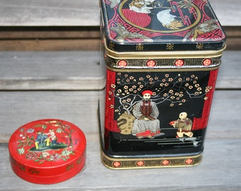 vintage mixed lot 2 tins oriental theme one small round and one tall rectangle