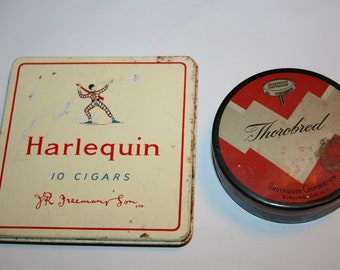 vintage mixed lot 2 tins Harlequin 10 cigars and Thorobred typewriter tape