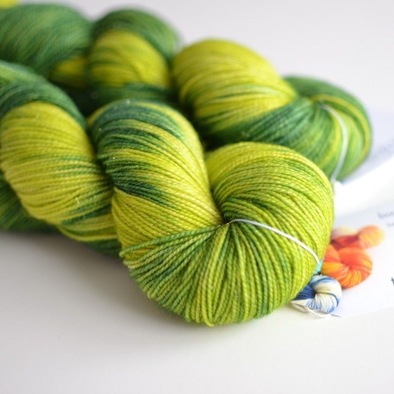 Hand Dyed Sock Fingering Yarn - Sparkle - Superwash Merino / Nylon 438 Yards - Silurian - Forest Green and Chartreuse Electric Lime