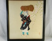 Vintage Japanese picture - applique, collage in relief with painted decoration
