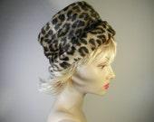 Vintage pill box hat , hand made, faux fur, leopard spots