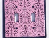 Pink Black Damask Oversize Black Light Switch Cover