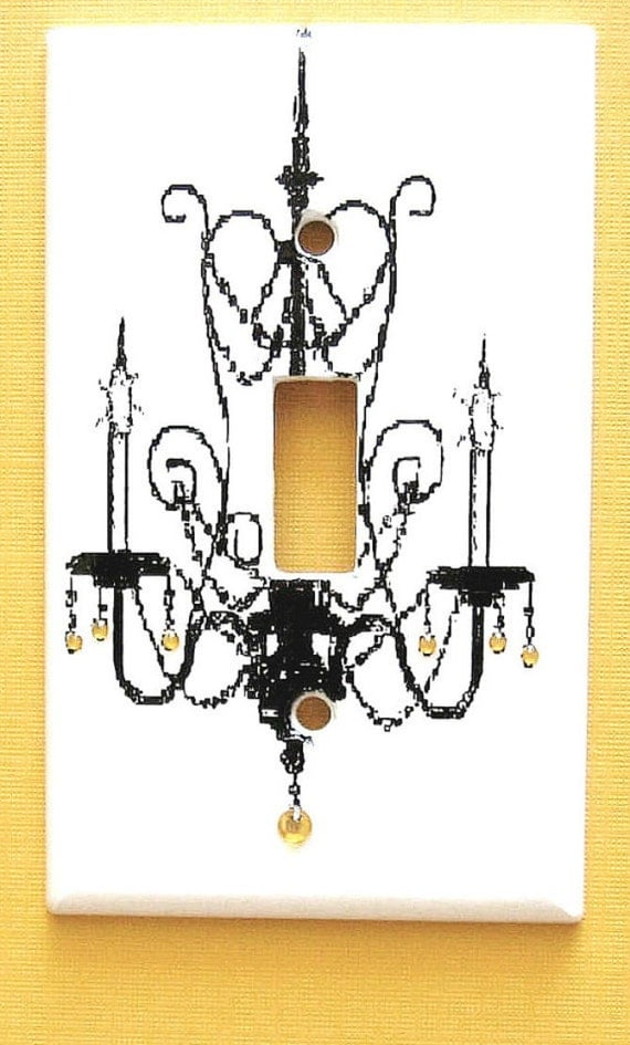 Reduced Price, Yellow Rhinestone Jeweled Chandelier Light Switch Cover Black and Yellow Girls Room Decor