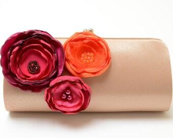 Raspberry Tangerine & Dark Champagne Clutch - Bridesmaid Clutch - Bridal Clutch - Pink Fuchsia Magenta Orange Bouquet Flower Clutch