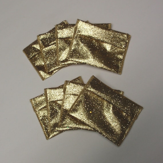 8 Jewelry Bead Pouches - Gold Glitter