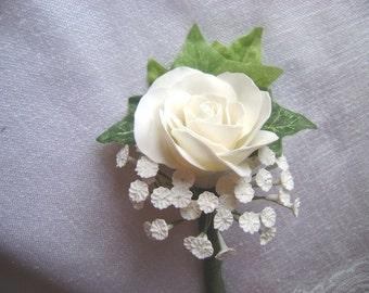 White Rose Wedding Boutonniere. Groomsmen