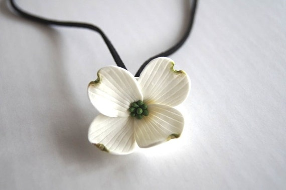 Gift for her Christmas Gift Bridesmaid Gift  White Dogwood Necklace Made to Order