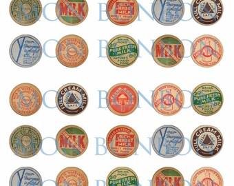 Digital Collage Sheet of Vintage 1 Inch Milk Caps - DIY Printable - INSTANT DOWNLOAD