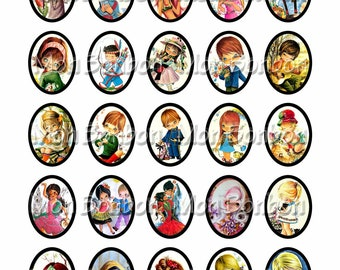 Vintage Big Eyed Kids Collage Sheet-  sized 30x40 mm Ovals -  DIY you print jewelry pendant supplies - INSTANT DOWNLOAD