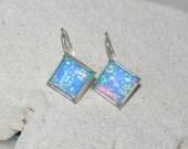 Opal dangling earrings in sterling silver with lever backs - Blue