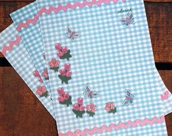 Vintage Gingham and Rick Rack Country Fold a Note Stationery - Set of 7 - Unused