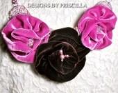 Velvet Bib Necklace Flower Necklace Statement Necklace Velvet Flowers Pink Chocolate Flower Choker Necklace Beaded Flower Bib Necklace