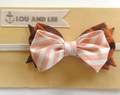 Baby bow headband - with leopard and candy stripe pink fabric