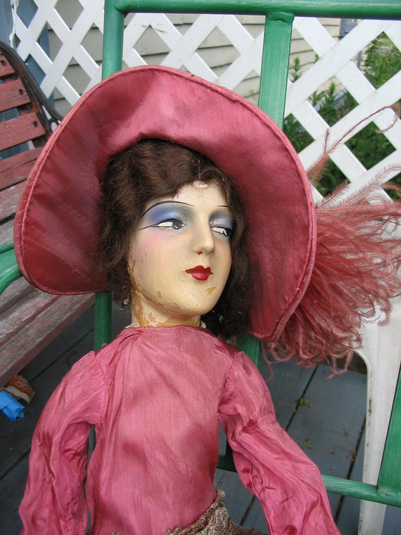 Antique Boudoir Doll from the 1920s With Feather Hat and Shoes too Price reduced