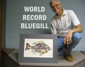 World Record Bluegill Art Print 11x17 GYOTAKU fish rubbing for Cottage or Lake House on Cougar Natural paper