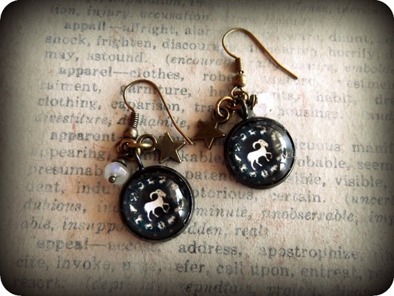 Capricorn Earrings, Zodiac Earrings, Astrology Jewelry