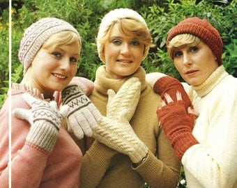 Vintage Ladies Gloves, Mitts and Hats in Three Styles, Knitting Pattern, 1960 (PDF) Pattern, King Cole 422