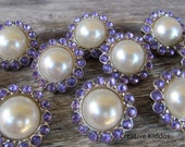White Pearl Buttons w/ Lavender Rhinestones For Hair Flower Centers / Clip / Baby Headbands x 5