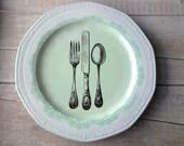 Vintage Kitchen Sign // Shabby Chic Kitchen // Mint Green // Wall Decor // Knife Fork Spoon // VICTORIAN UTENSILS