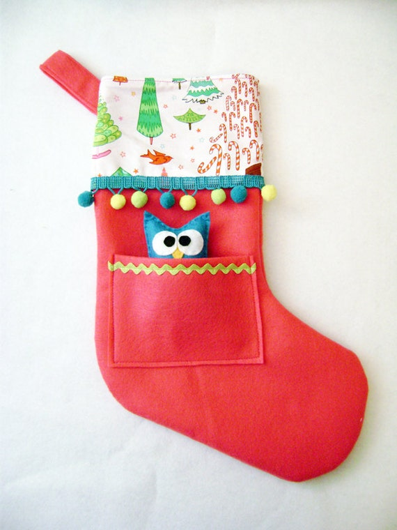 Felt Holiday Stocking - Pocket Peeper Owl - Crazy Christmas - Hot Pink