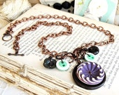 SALE - Button Necklace Buffed Celluloid Purple Charm Necklace Vintage Buttons Chocolate Olive Camille