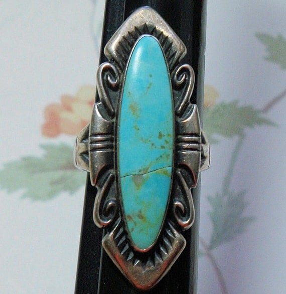 Just Reduced, Turquoise Sterling Silver Ring, Ladies Silver Long ring, Sterling Turquoise Ring