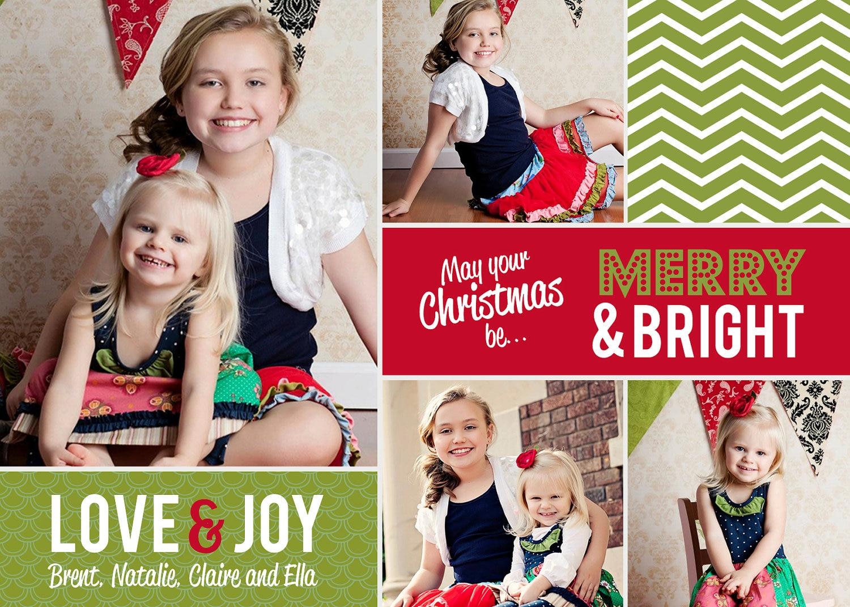 items similar to chevron photo collage christmas card