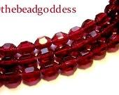 New 21 CZECH CATHEDRAL Glass Beads Rich RASPBERRY Art Deco Shape 6x7mm