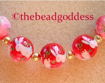 5 Beautiful Japanese Tensha Beads BUNNIES PINK RED 12mm