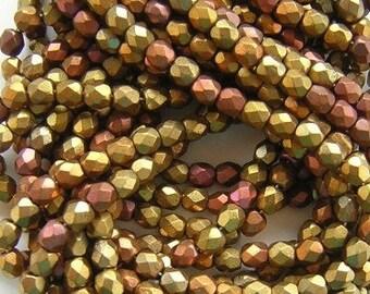 New 25 Czech Faceted Glass Beads GOLD IRIS MIX 8mm
