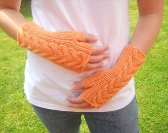 Cable Knit Wrist Warmers fingerless gloves fingerless mittens orange tangerine