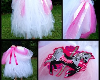 Pink White Carousel Horse Formal Length Tulle Skirt Adult Small  MTCoffinz  - Ready to Ship