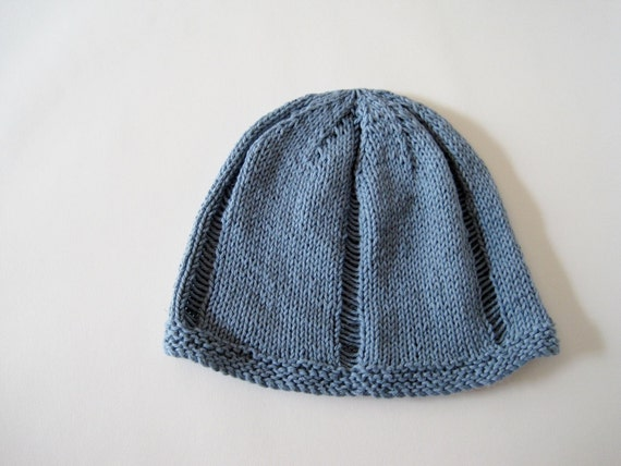Urchin Beanie - Hand Knit Airy Linen Cotton Hat - Traditional Fit, Light Blue
