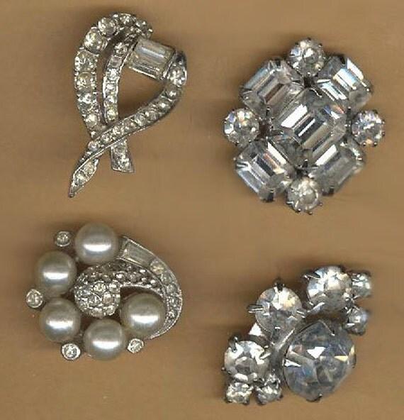 lot of fancy vintage single earrings, clear rhinestone sparklies, backs cut off, four pieces