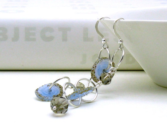 Pale Blue Lampwork Sterling Silver Earrings - Carolyn /  Shore Beach Sky Nature Bohemian