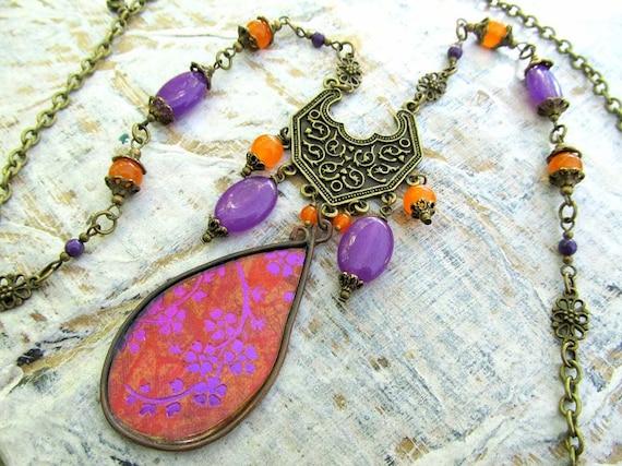 long Bohemian necklace Tangerine orange Orchid purple multi strand necklace Gypsy boho jewelry