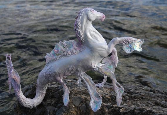 """OOAK Fantasy Equine Unicorn Hippocampus Sculpture """"Isochoric"""" by Quequinox Art"""