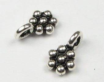 Larger Dainty Daisy Flower Charms Drops Bali Sterling Silver Charms Jewelry Supplies, Beading Findings (25 beads)