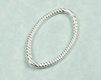 23mm Oval Shaped Bali Bright Sterling Silver Brushed Line Texture Loop Connector Rings Links (2 beads)