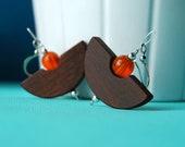 Sleepy C's - wooden earrings with orange glass beads