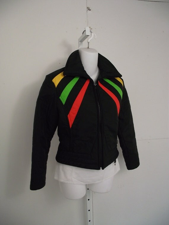 Ski Jacket 1970s Womens Skinny 1980s Black and Primary Colors Geometric Quilted Puff Jacket SKYR Small