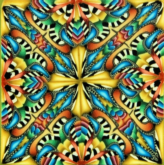 Square Kaleidoscope Polymer Clay Cane, 'Cosmic Colors'