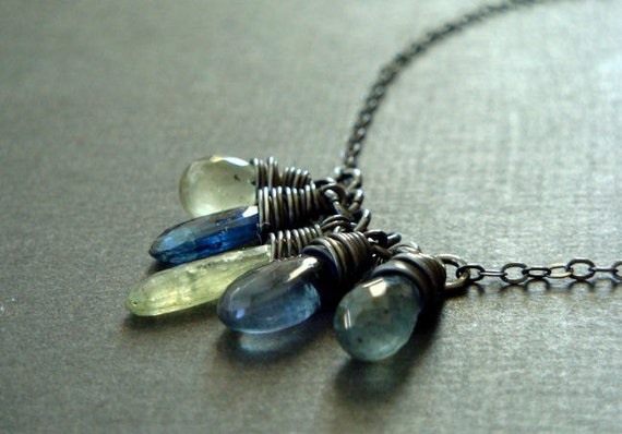 Kyanite, moss aquamarine, and fluorite briolette necklace - Black oxidized sterling silver with blue and green gemstones